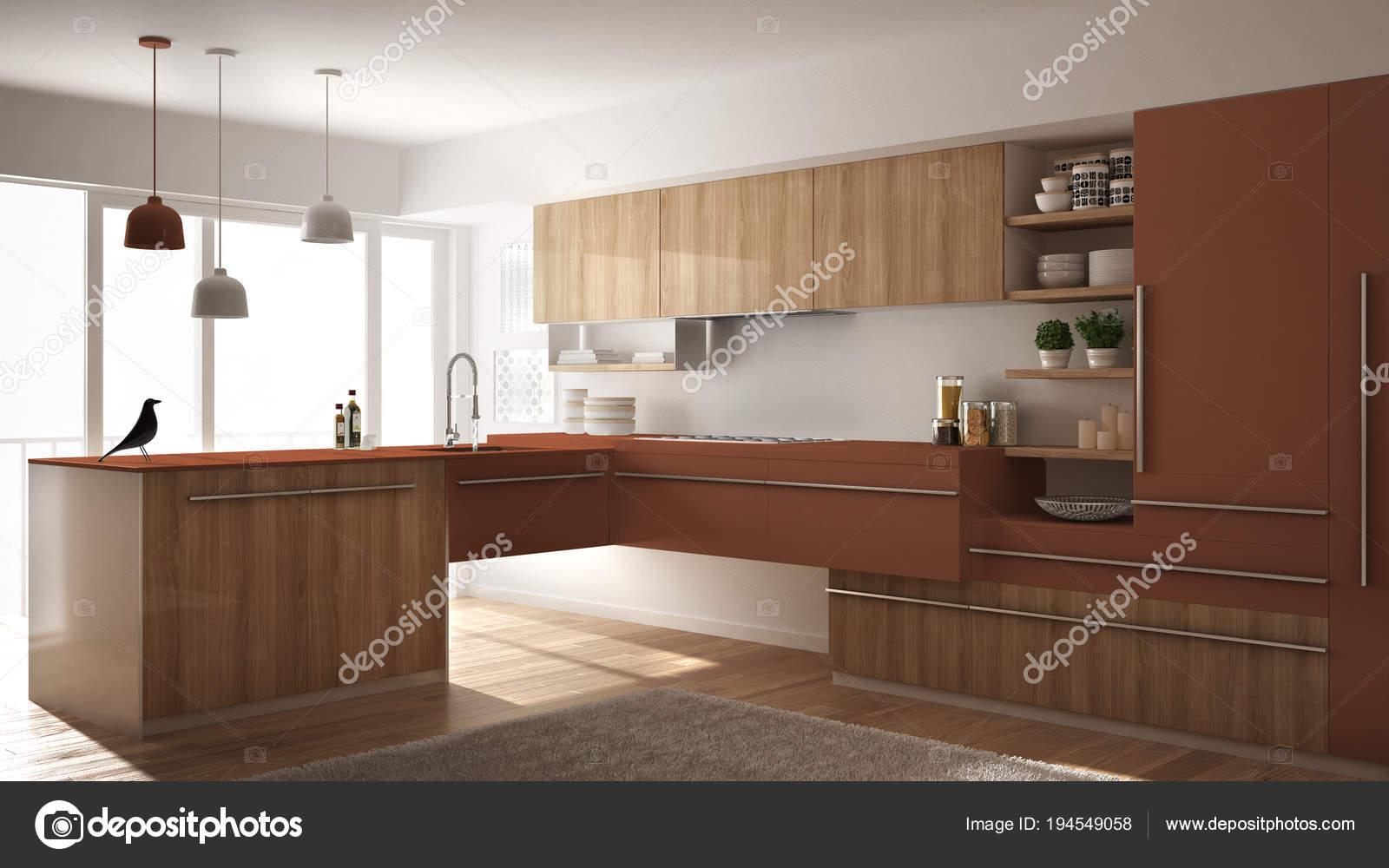 Cuisine en bois minimaliste moderne avec sol en parquet, tapis et ...