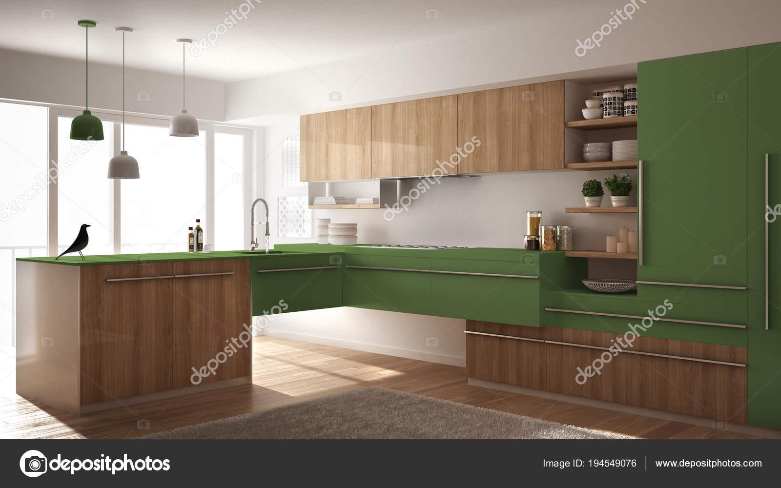 cuisine en bois minimaliste moderne avec sol en parquet, tapis et