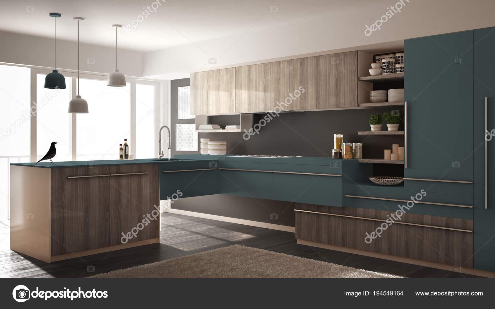 Grijze Keuken Modern : Moderne minimalistische houten keuken met parketvloer tapijt en