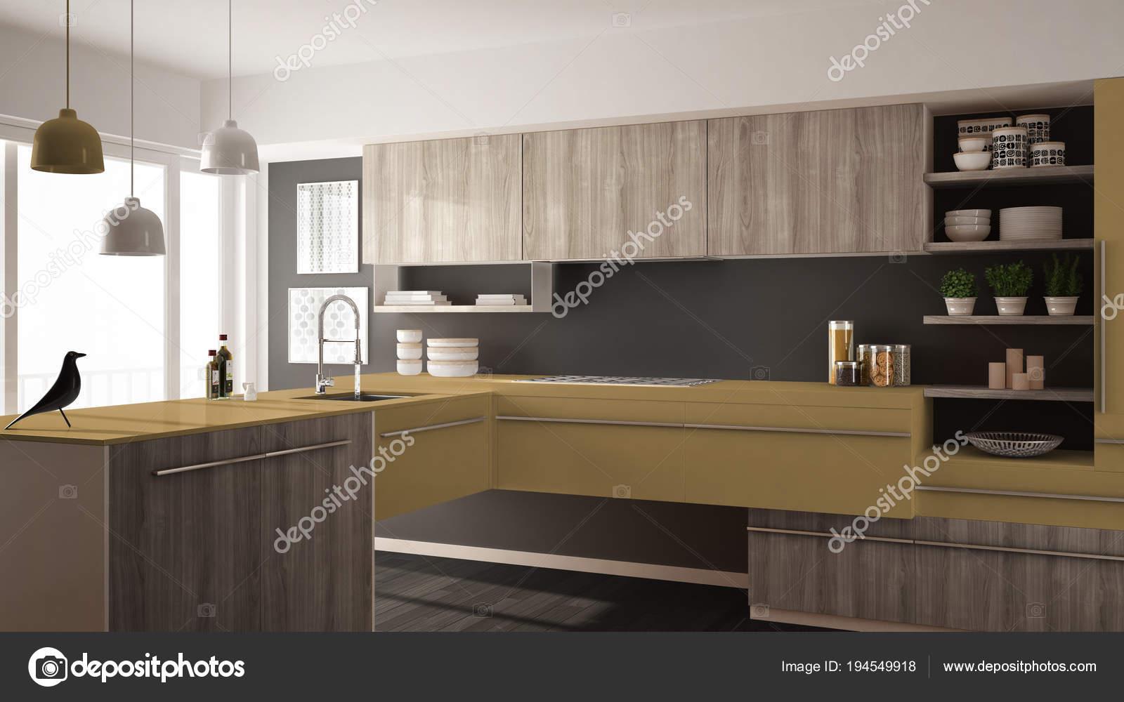 Moderne minimalistische houten keuken met parketvloer tapijt en