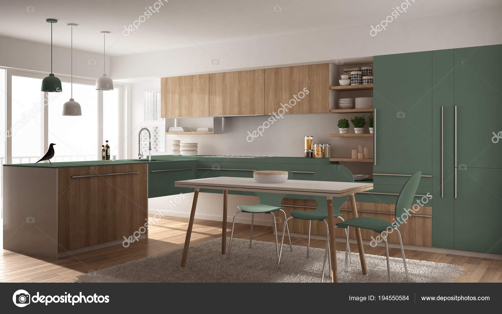 Cucina Legno E Bianco modern minimalistic wooden kitchen with dining table, carpet