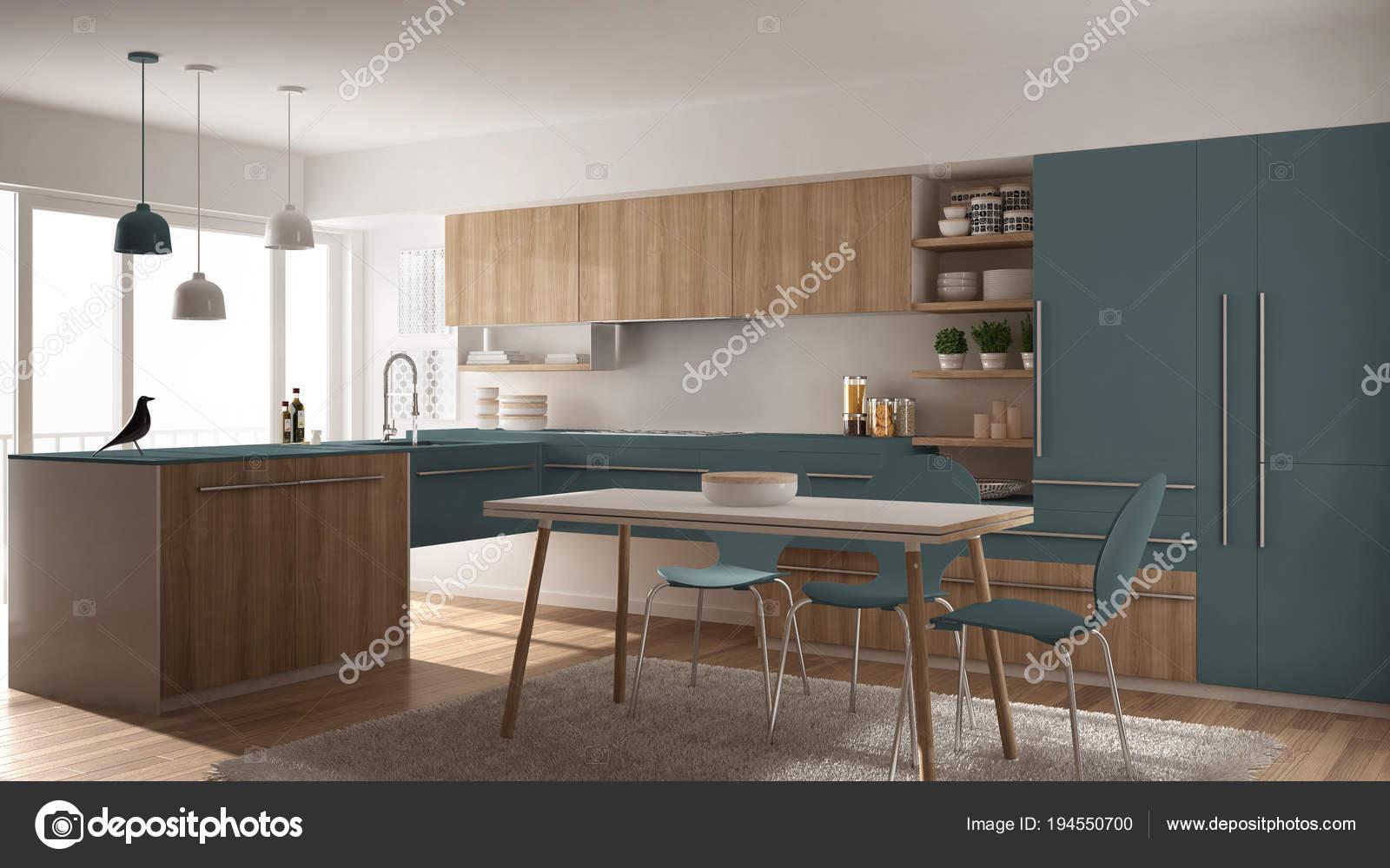 Moderne minimalistische houten keuken met eettafel tapijt en