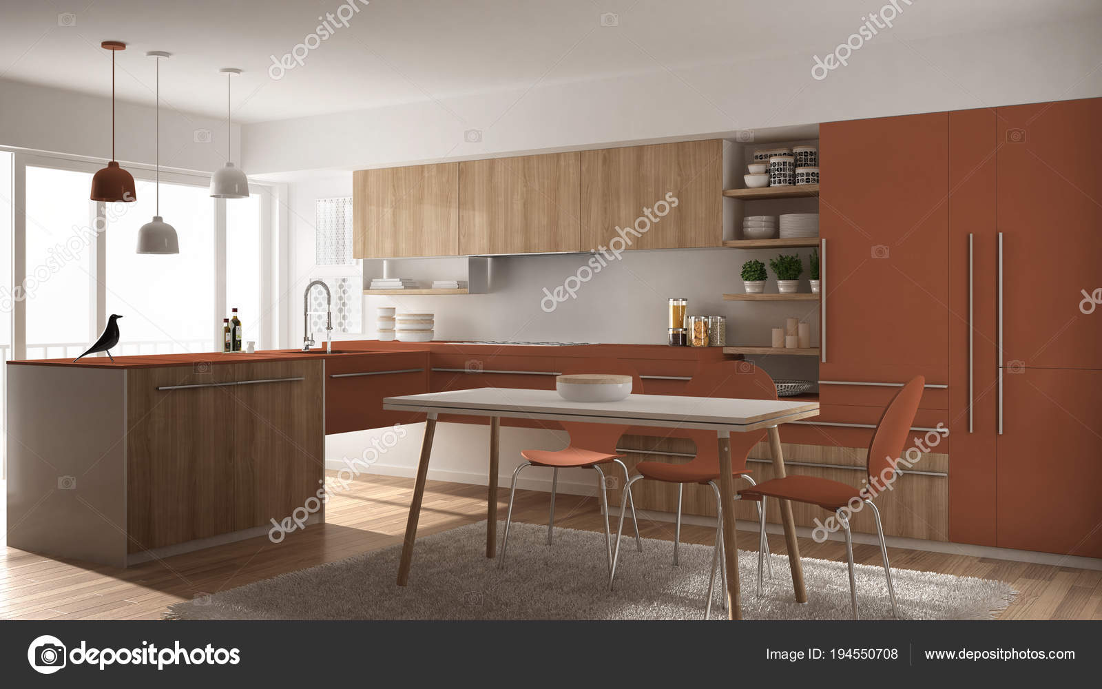 Modern Minimalistic Wooden Kitchen With Dining Table Carpet And