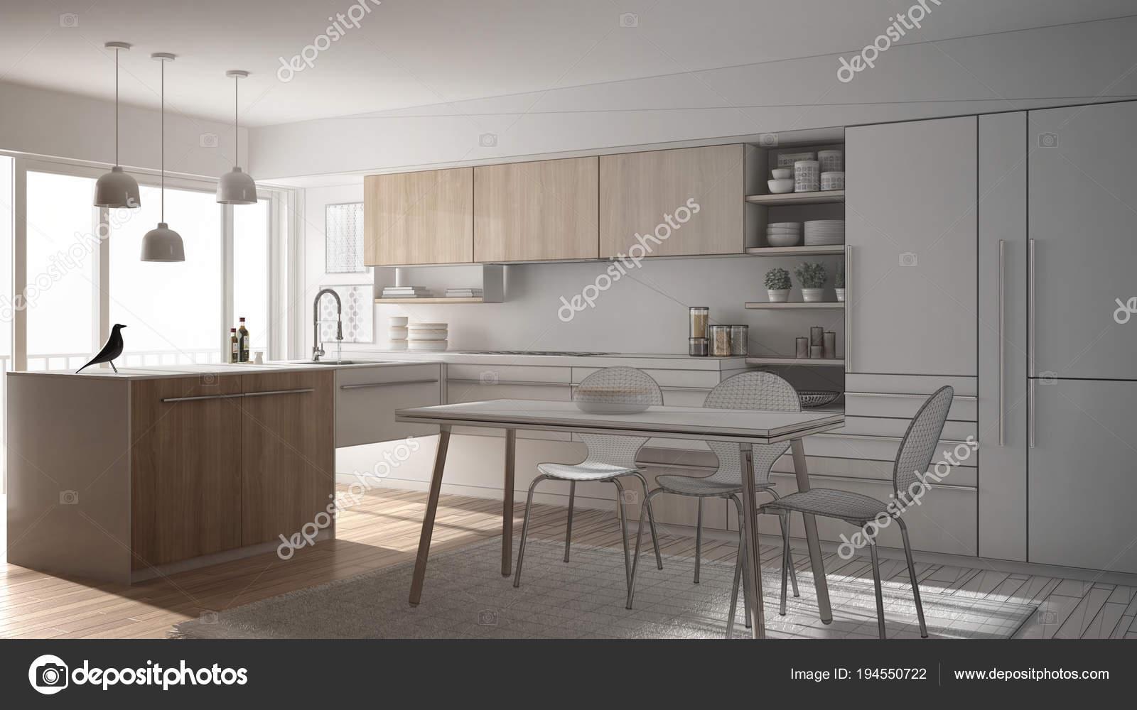 Tapijt Voor Keuken : Onvoltooide project van moderne minimalistische keuken met eettafel