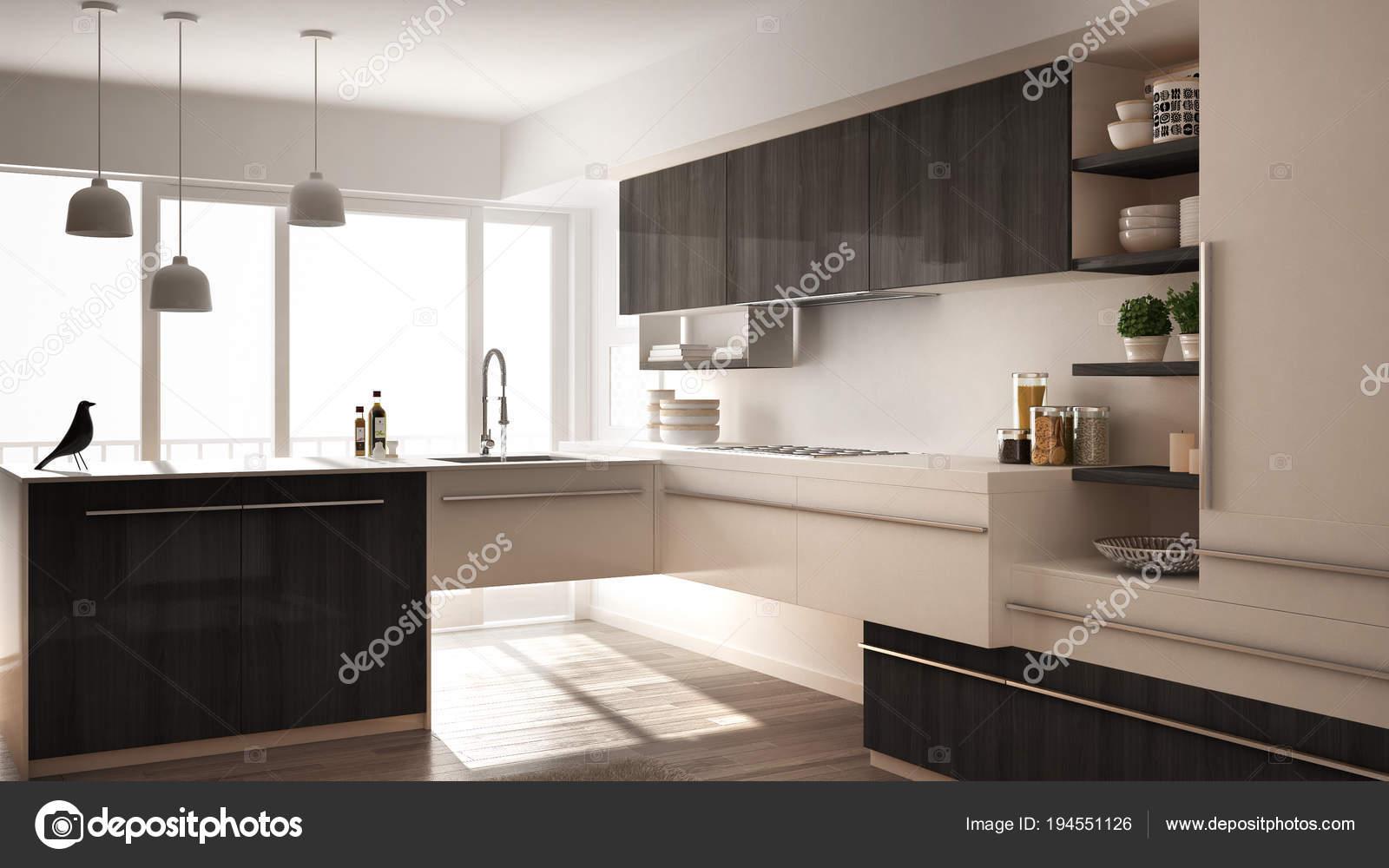 Grijze Houten Keuken : Moderne minimalistische houten keuken met parketvloer tapijt en
