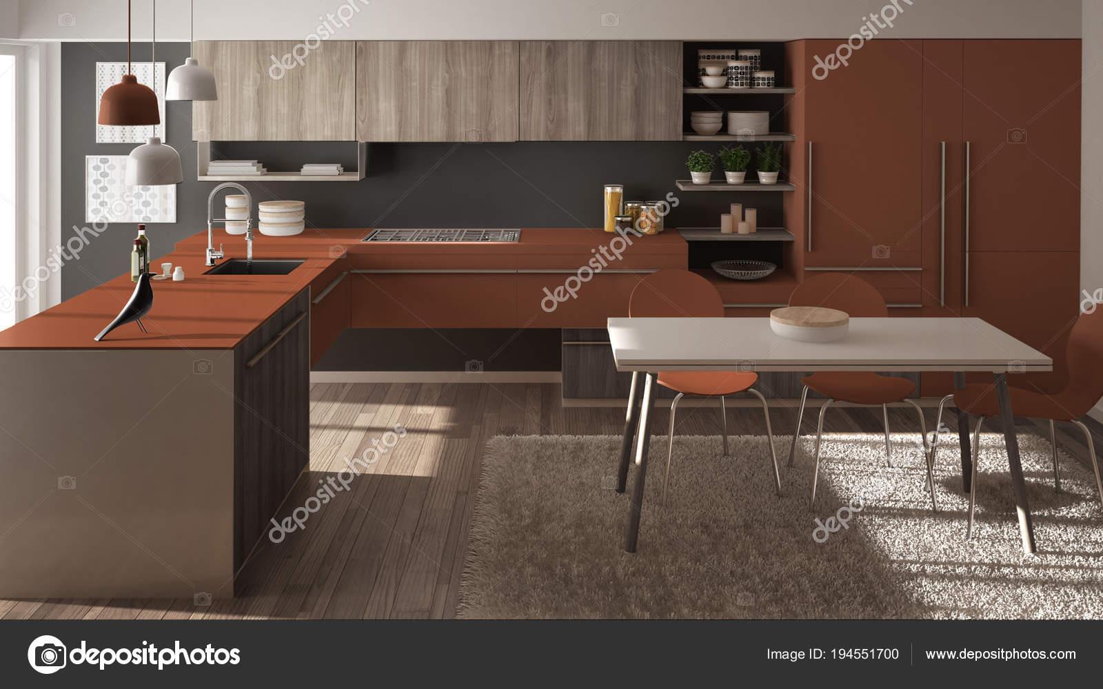 Cuisine en bois minimaliste moderne avec table à manger ...