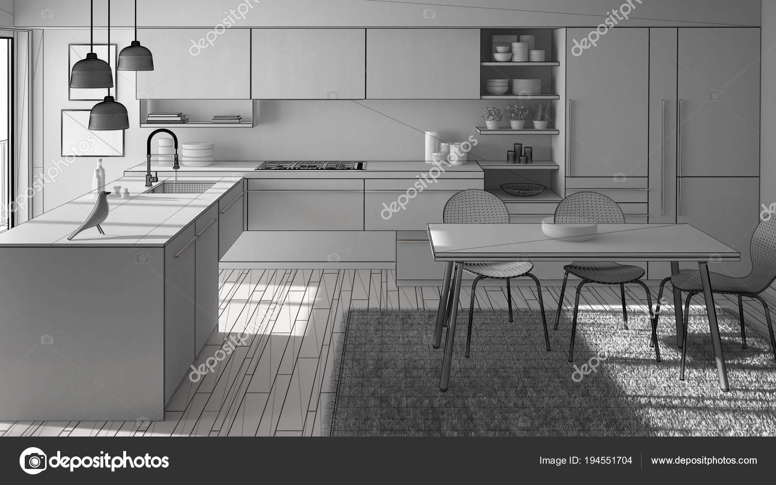 Unfinished Project Of Modern Minimalistic Kitchen With Dining Table Carpet And Panoramic Window Architecture Interior Design Stock Photo Image By C Archiviz 194551704