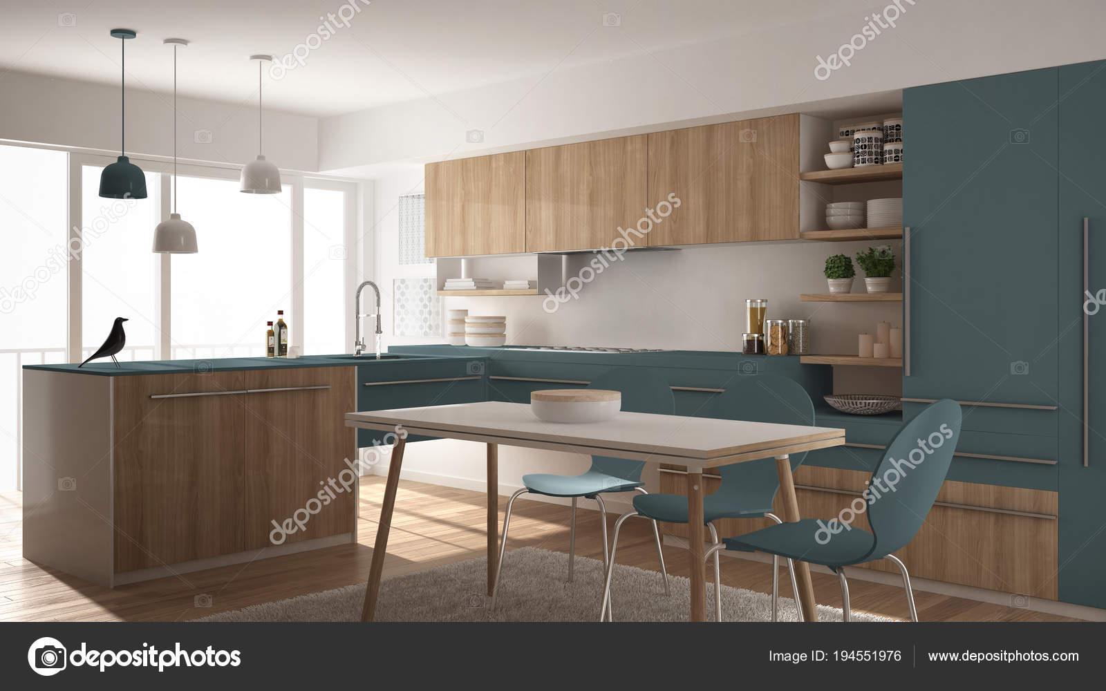 Moderne minimalistische hölzerne Küche mit Esstisch, Teppich und ...