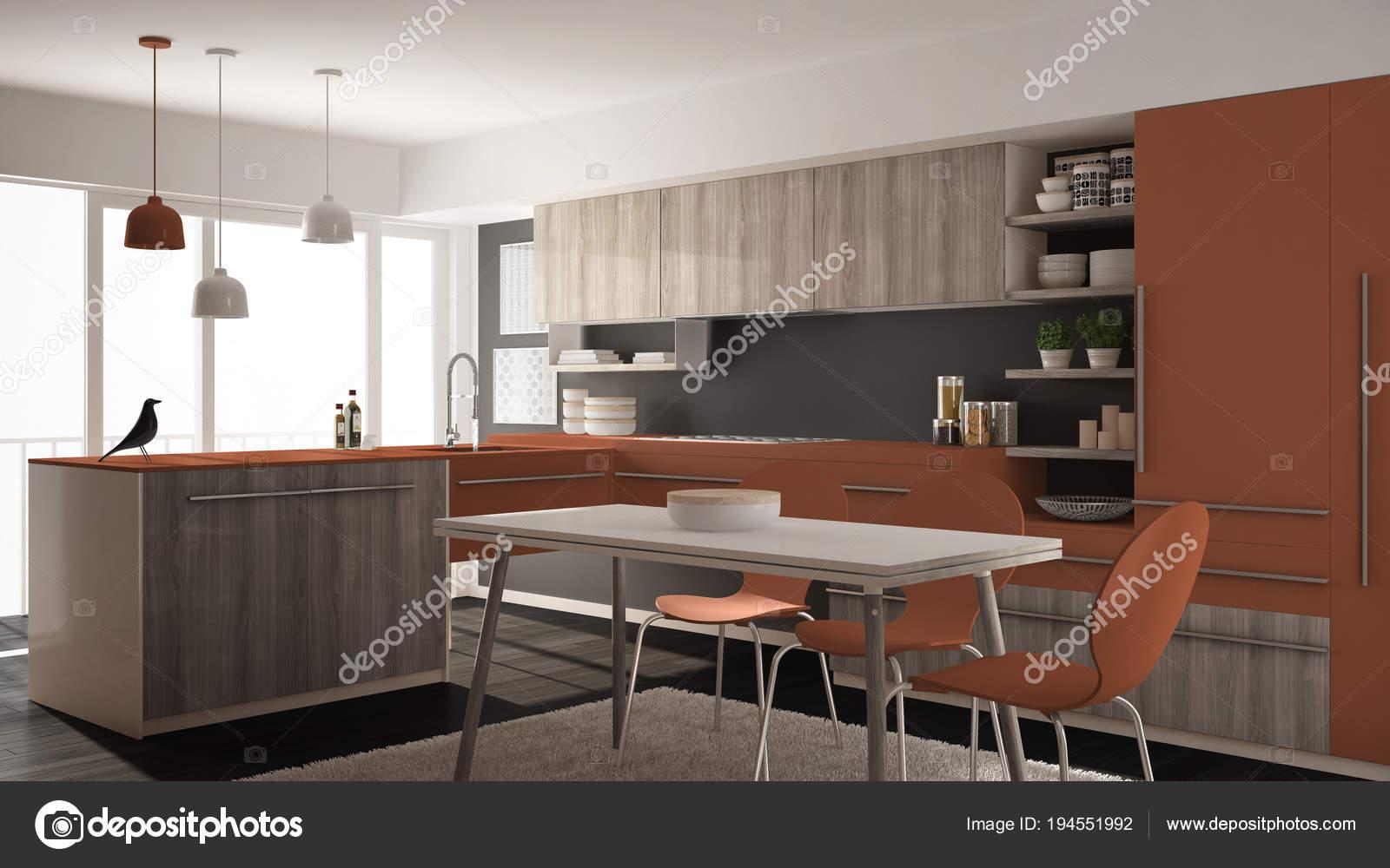 Cuisine en bois minimaliste moderne avec table à manger, tapis et ...