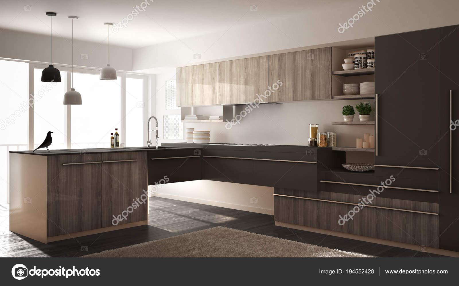Pavimento Bianco E Grigio : Cucina in legno minimalista moderna con pavimento in parquet