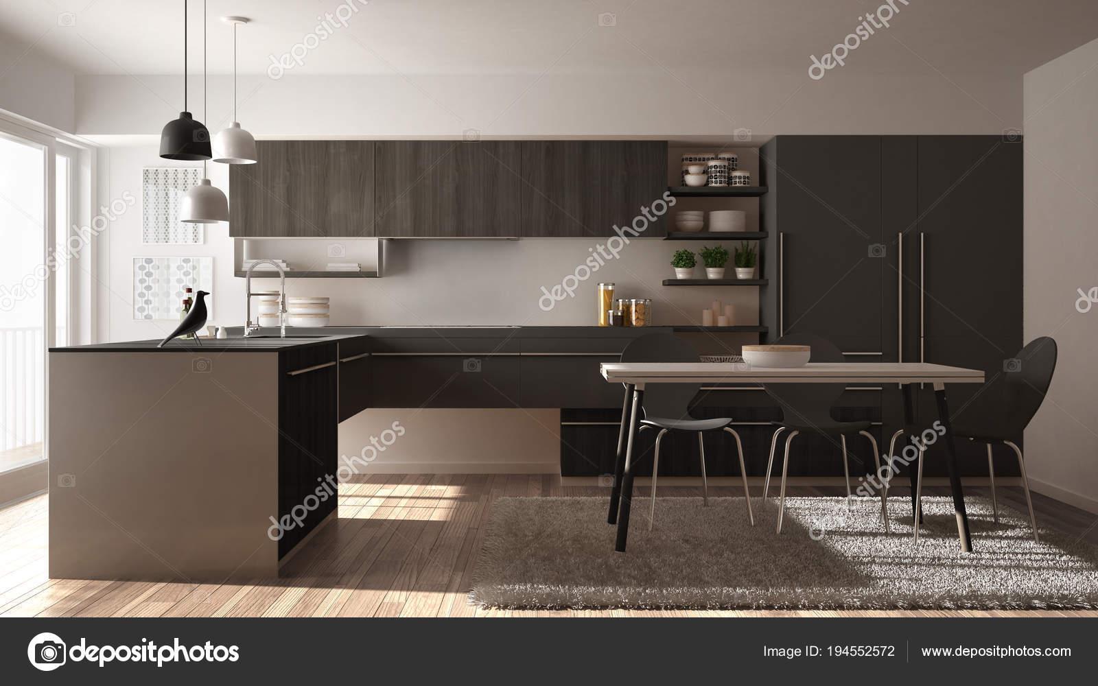 Cozinha De Madeira Minimalista Moderna Com Mesa De Jantar Tapete E