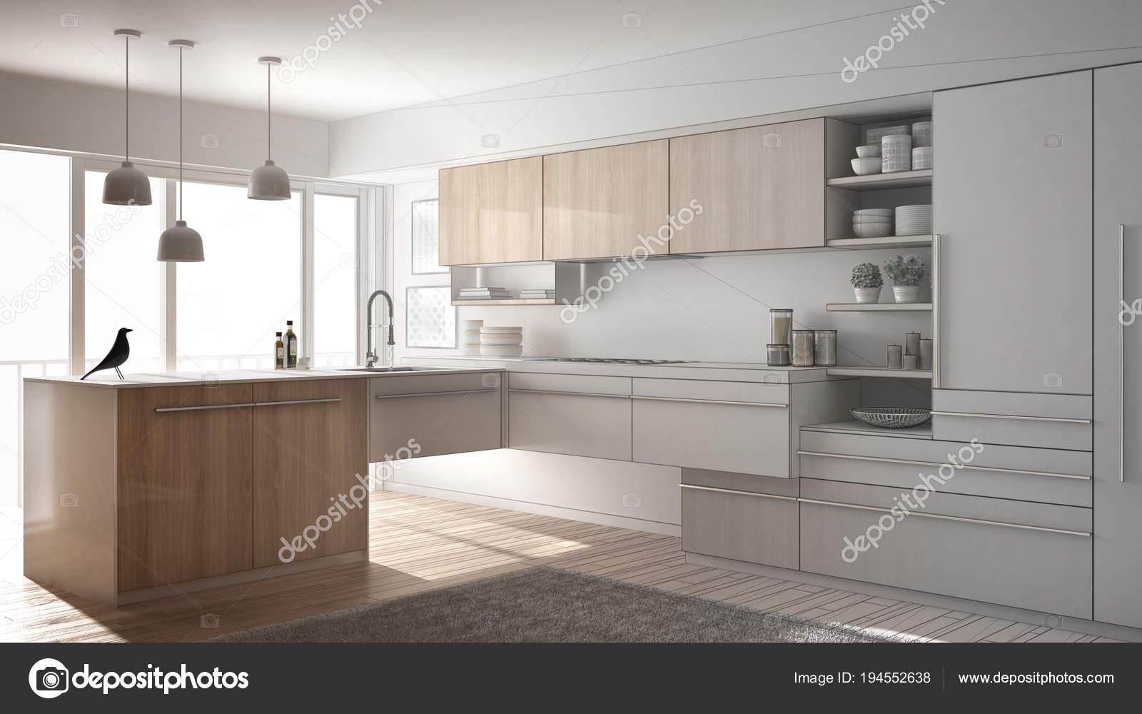Tapijt Voor Keuken : Onvoltooide project van moderne minimalistische keuken met