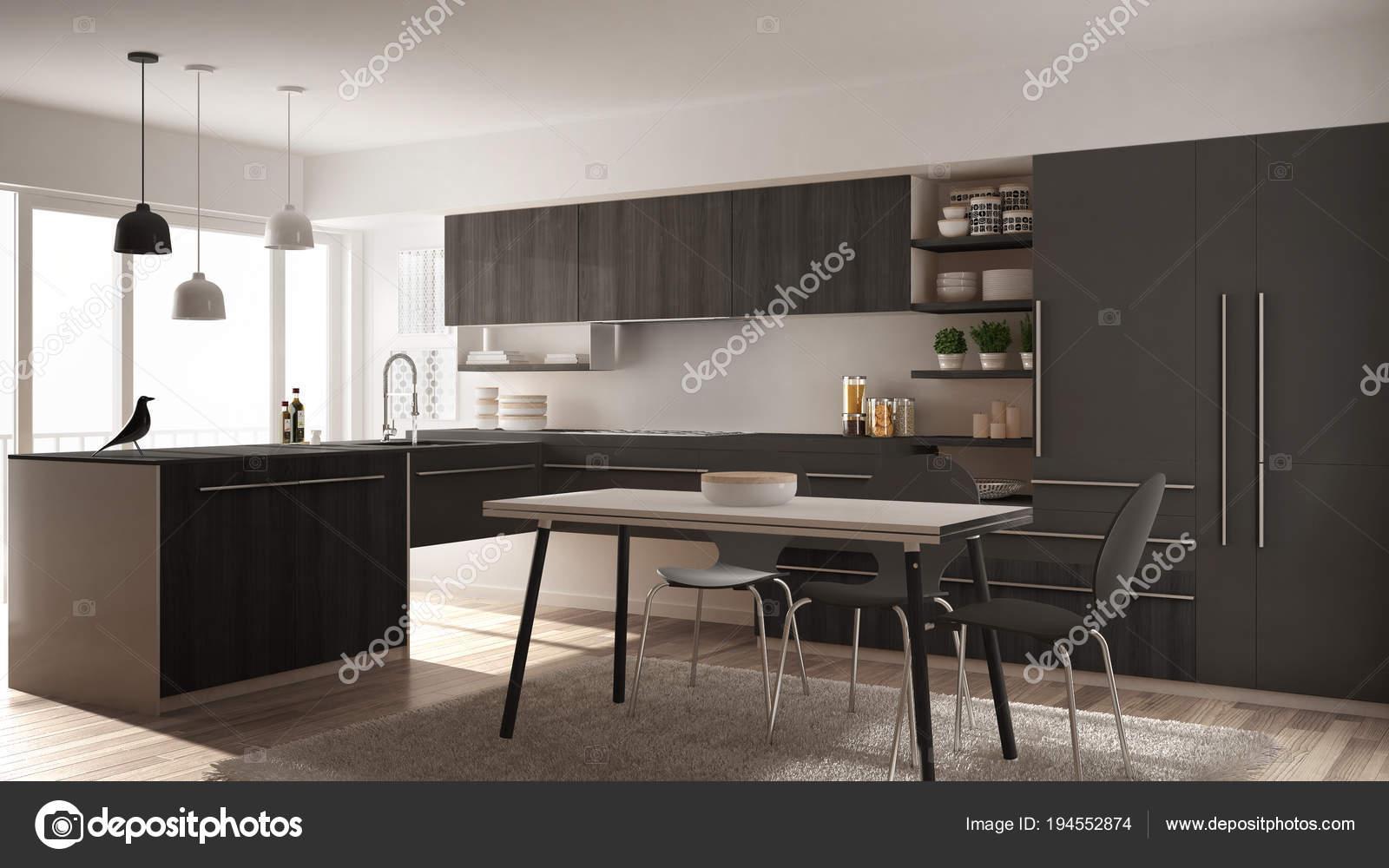 Nowoczesny Minimalistyczny Drewniane Kuchnia Z Stół Do