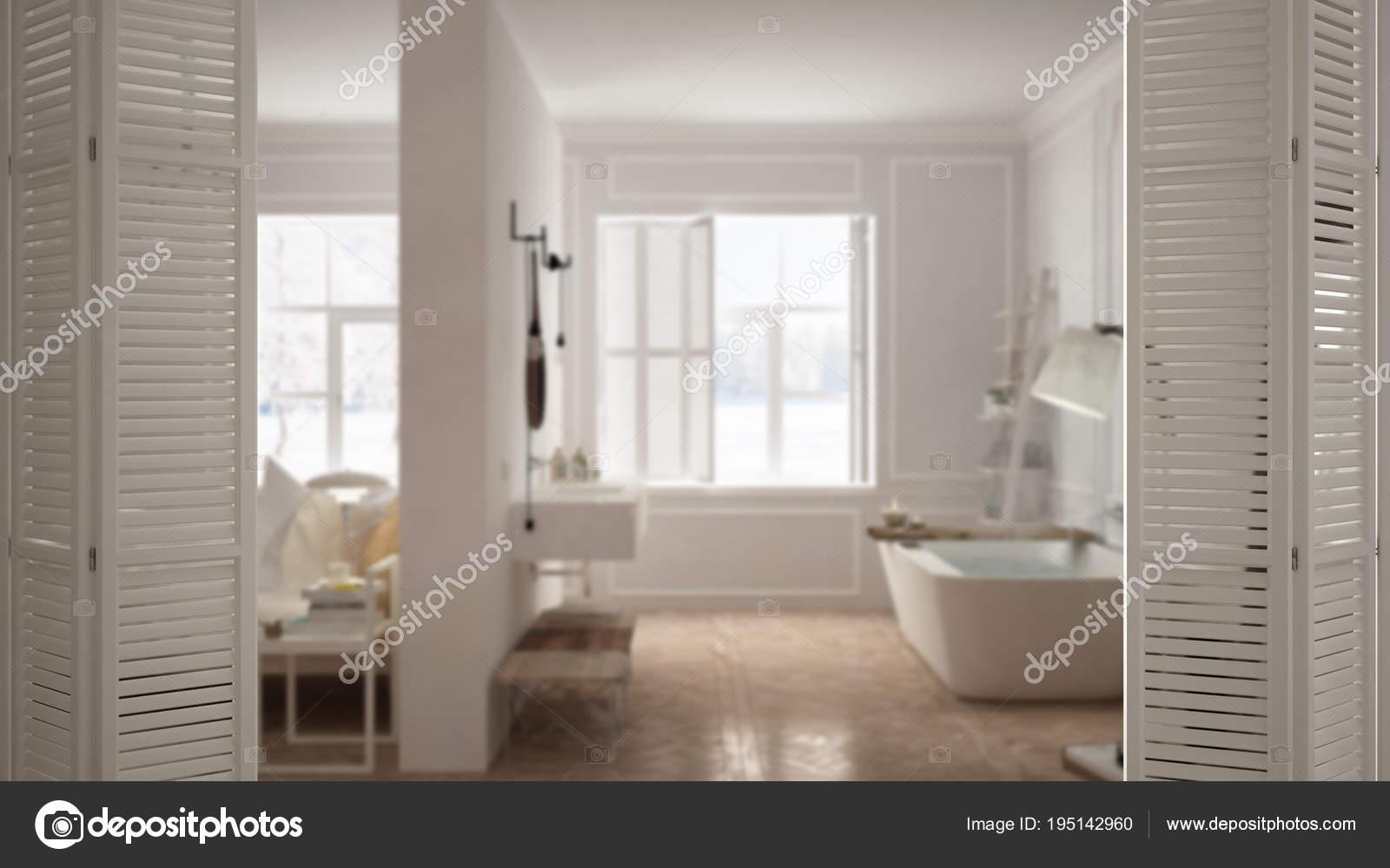 Blanche porte ouvrant sur une chambre scandinave moderne avec salle ...