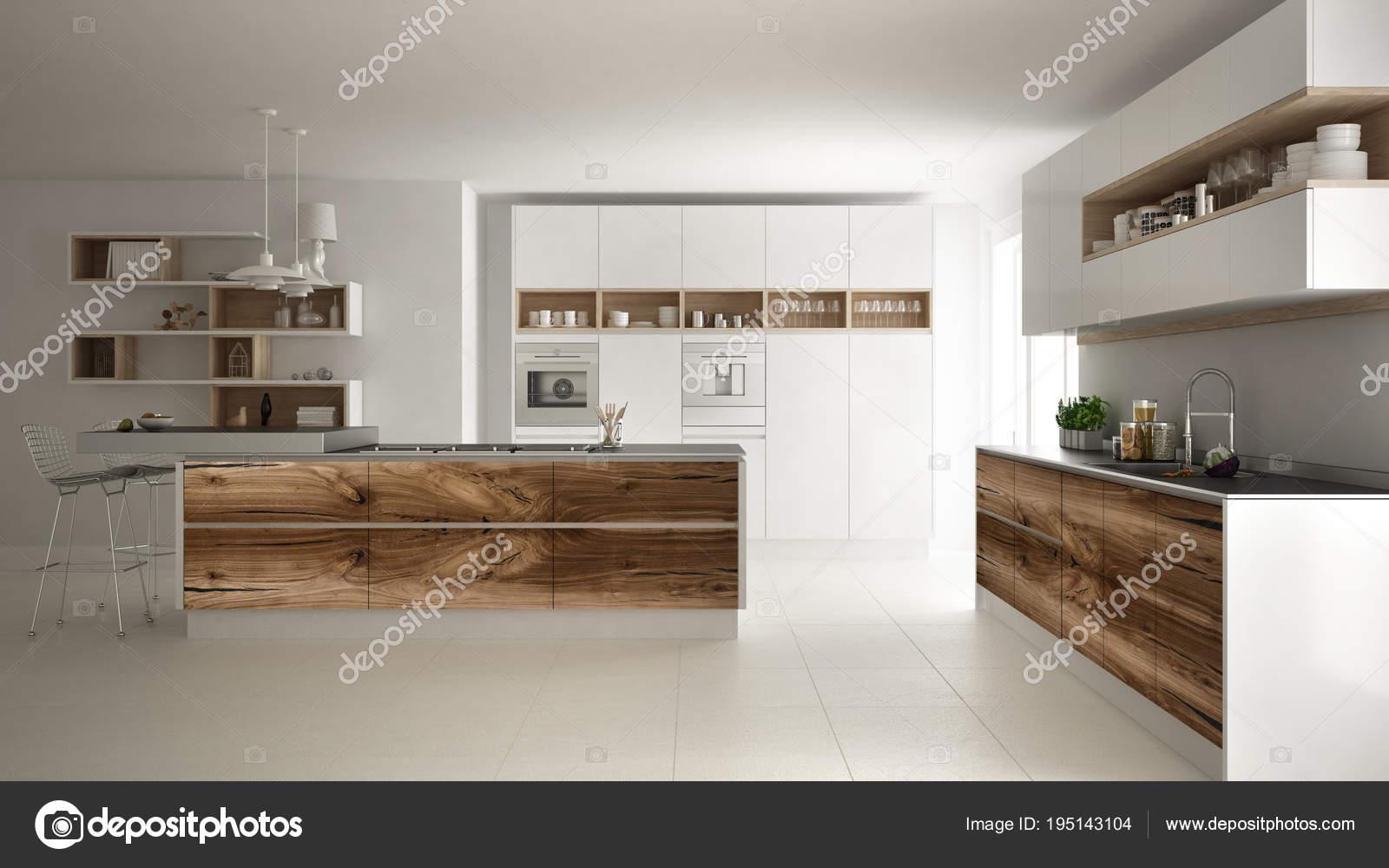 Cocina minimalista moderno blanco, con accesorios de madera clásico ...