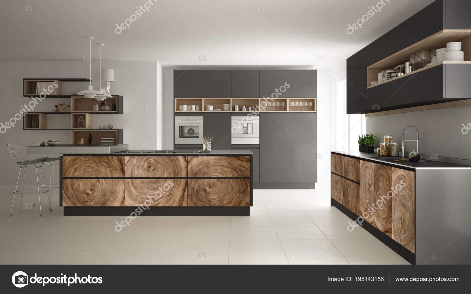 Graue moderne minimalistische Küche, mit klassischen Holz ...