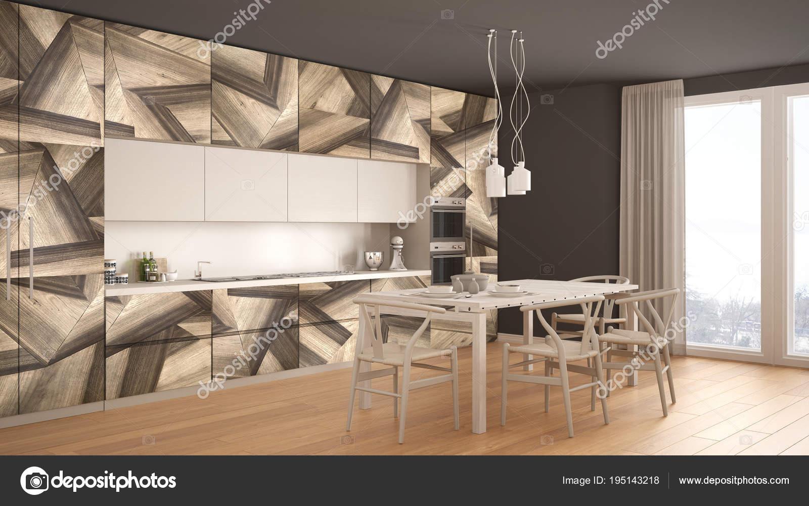 Cucina minimalista moderno bianco e grigio, con classici in legno ...