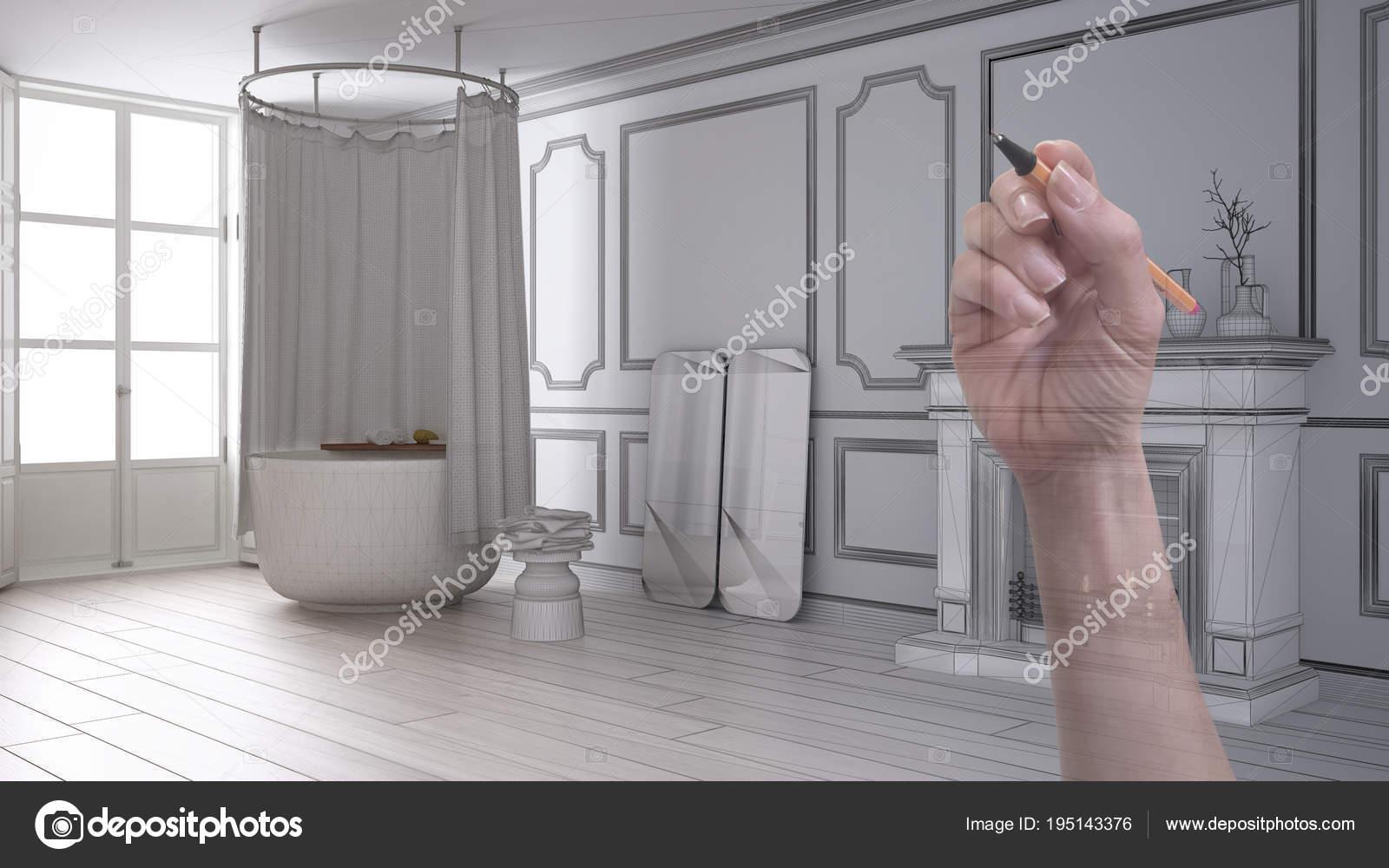 Bagno vintage moderno personalizzato con camino dellillustrazione
