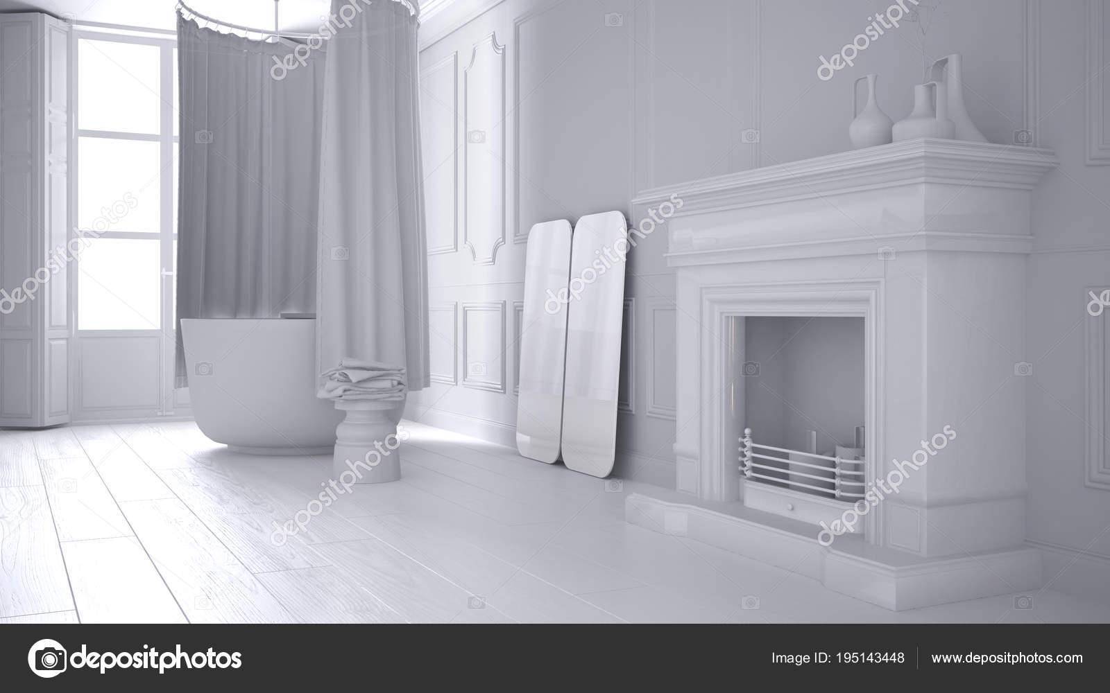 Camino Classico Bianco : Bianco totale progetto di bagno vintage nello spazio classico con