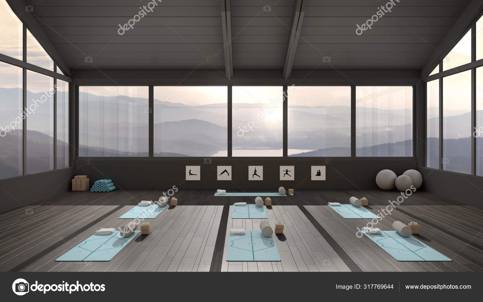 Empty Yoga Studio Interior Design Architecture Minimal Open Space Spatial Organization With Mats And Accessories Ready For Yoga Practice Panoramic Window With Lake Panorama Stock Photo C Archiviz 317769644