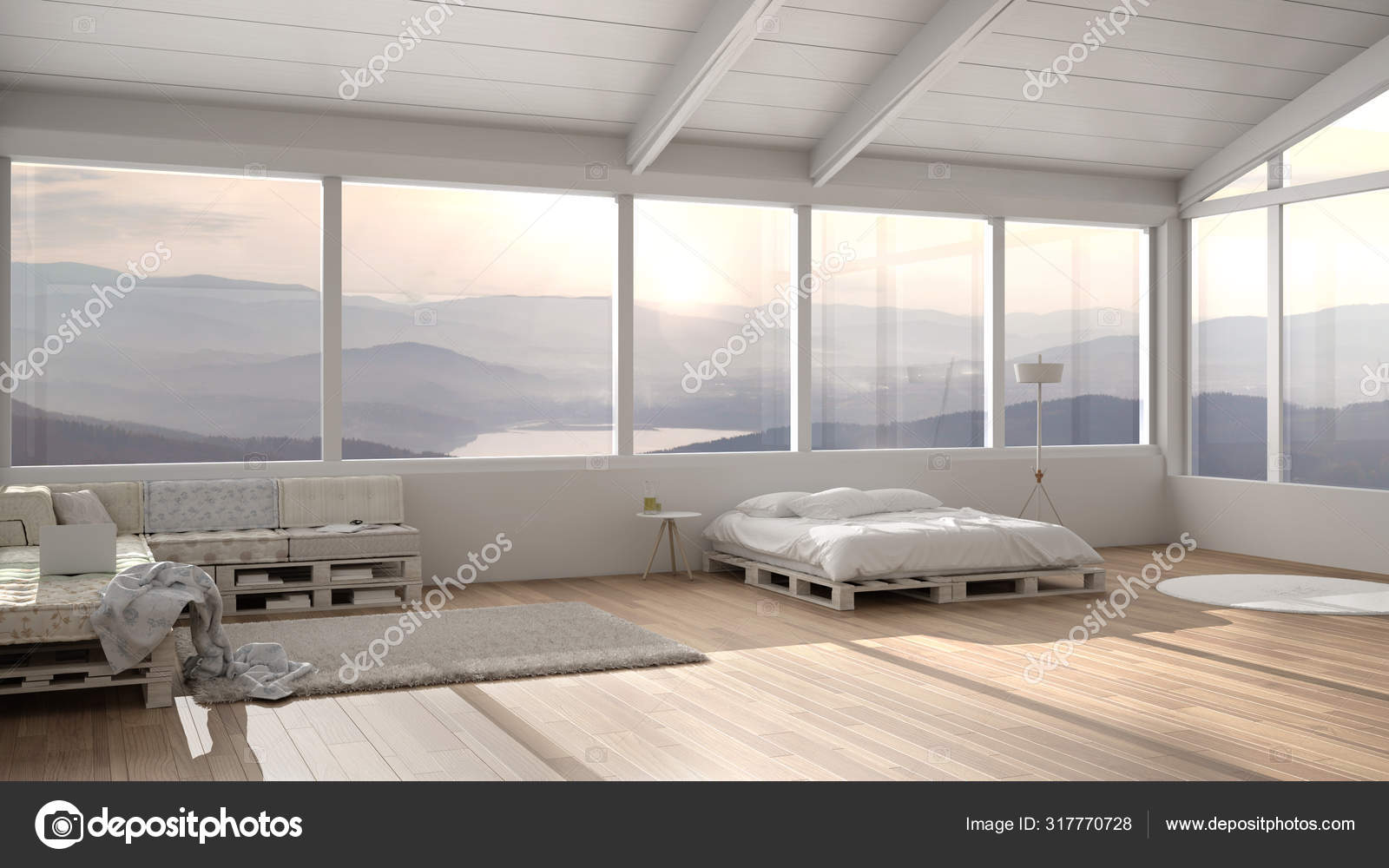 Big Panoramic Bedroom With Windows On Mountain Valley Diy Bed