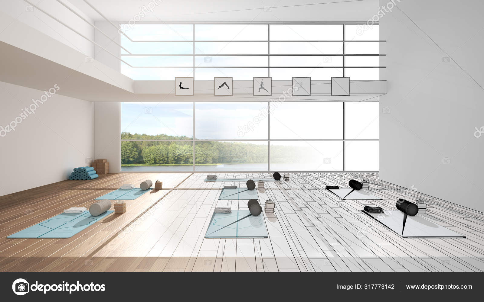 Architect Interior Designer Concept Unfinished Project That Becomes Real Empty Yoga Studio Design Spatial Organization With Mats And Accessories Panoramic Window Concept Idea Stock Photo C Archiviz 317773142