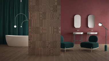Modern red and turquoise minimalist abstract bathroom with decorated wooden partition wall, parquet floor, plaster wall, velvet armchair, bathtub with lamp, double washbasin, mirror