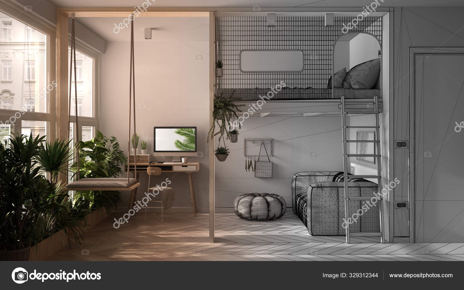 Architect Interior Designer Concept Unfinished Project That Becomes Real Minimalist Studio Apartment With Loft Bunk Bed Living Room Home Workplace Windows With Potted Plants Stock Photo C Archiviz 329312344