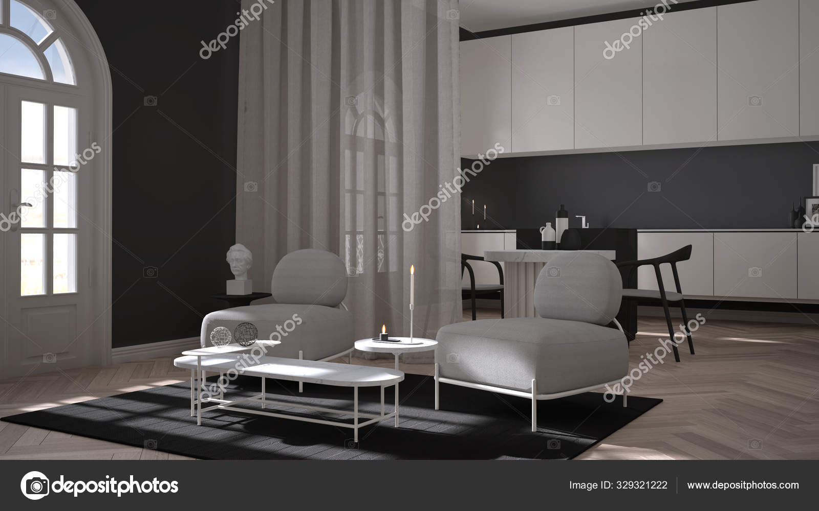 Luxury Lounge Living Room And Kitchen In Classic Room With Stucco Molded Walls And Parquet Floor