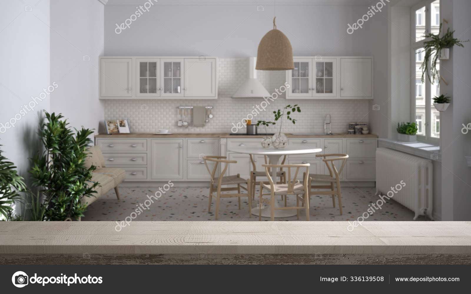 Wooden Vintage Table Top Or Shelf Closeup Zen Mood Over Vintage Retro Kitchen With Dining Table And Wooden Chairs Plants Panoramic Windows White Architecture Interior Design Stock Photo C Archiviz 336139508