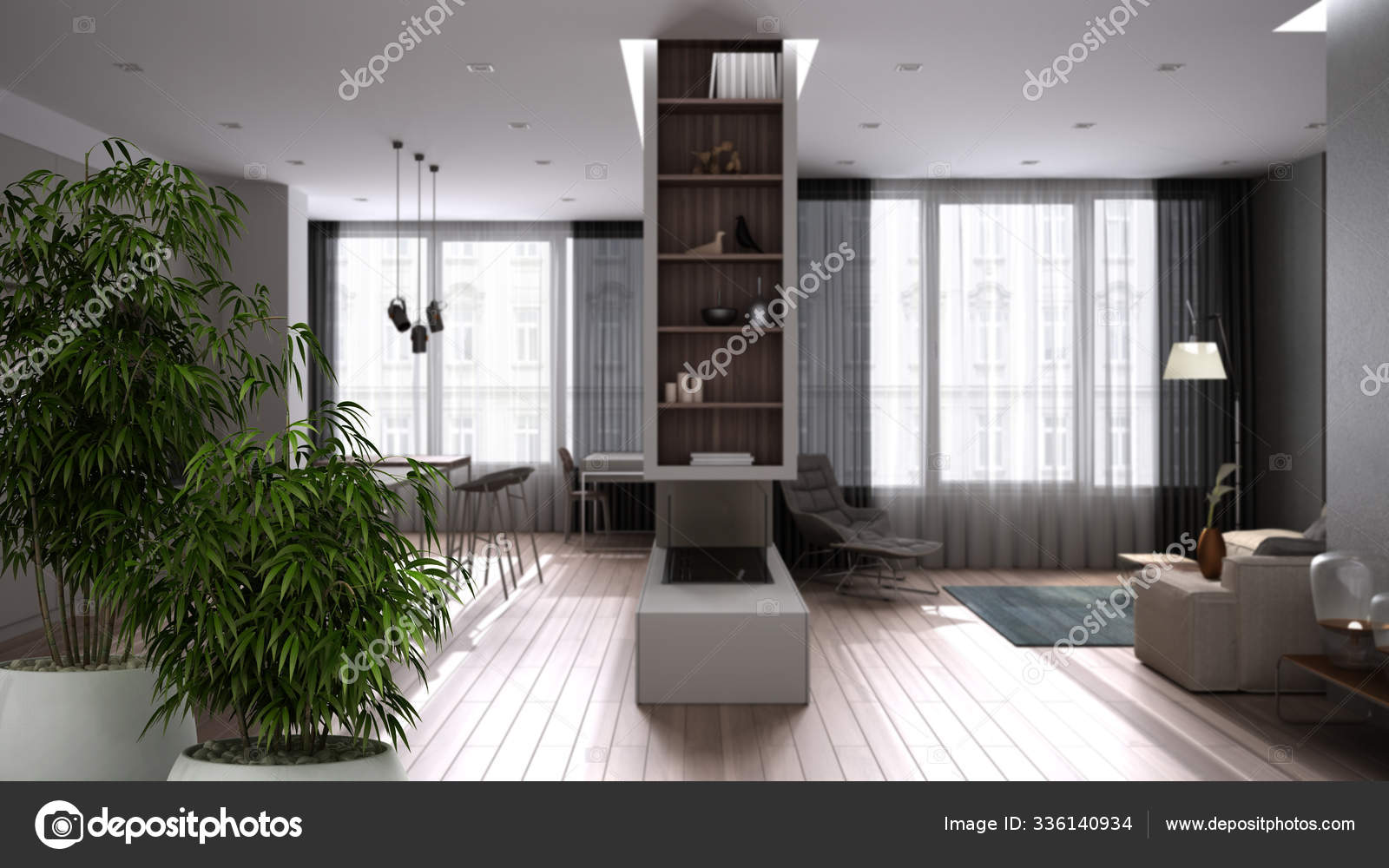 Zen Interior With Potted Bamboo Plant Natural Interior Design Concept Modern Luxury White And Wooden Kitchen Living Room With Panoramic Windows Minimalist Architecture Concept Stock Photo C Archiviz 336140934