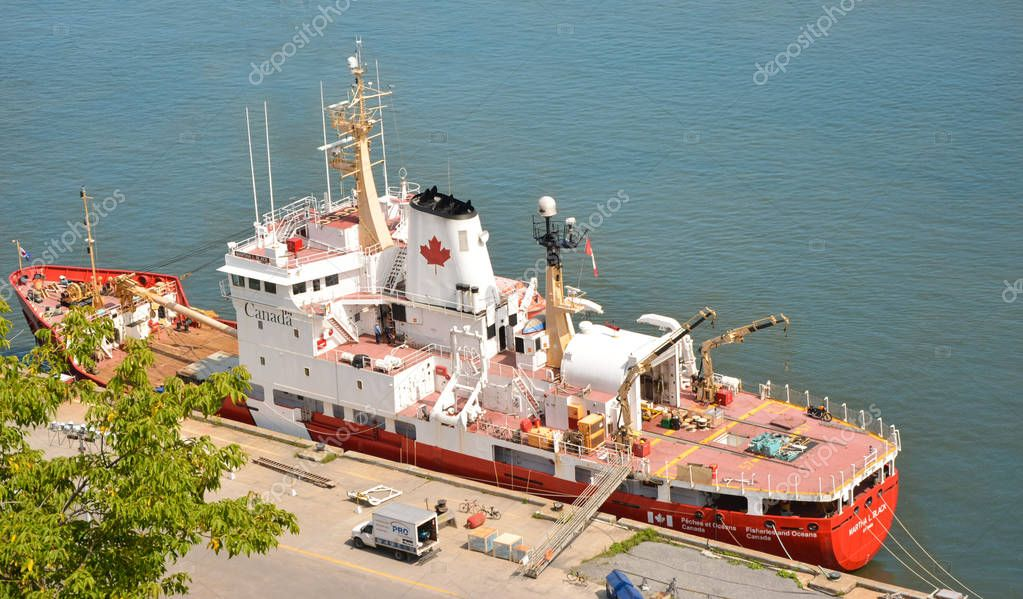 QUEBEC, CANADA - AUGUST 20, 2014: Fishing boat. View from above.