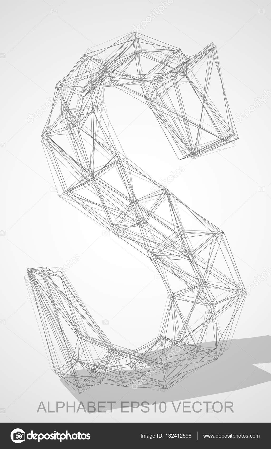 Abstract illustration of a pencil sketched uppercase letter s with transparent shadow hand drawn 3d s for your design eps 10 vector illustration