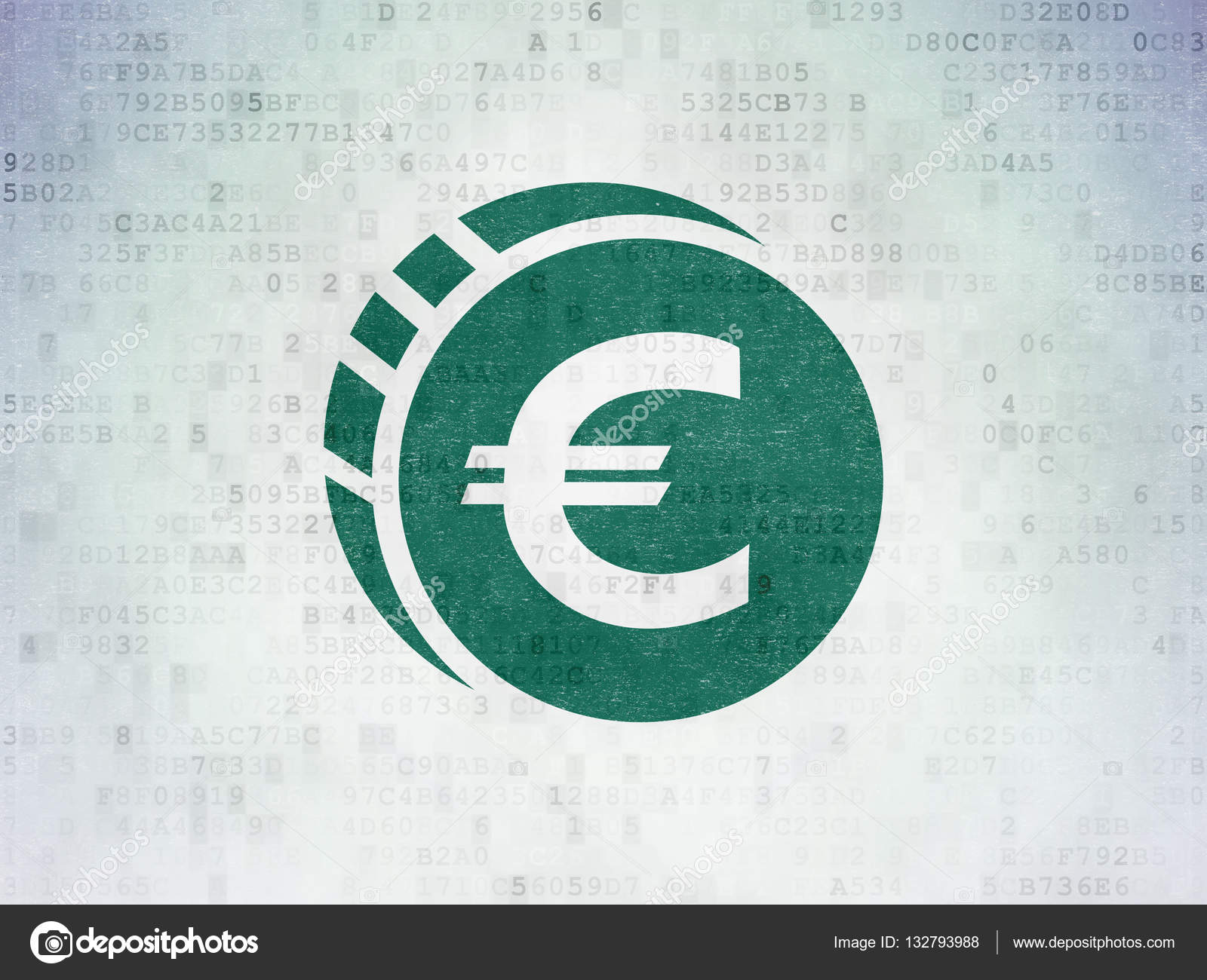 Banking Konzept Euro Münze Auf Digitale Daten Papierhintergrund