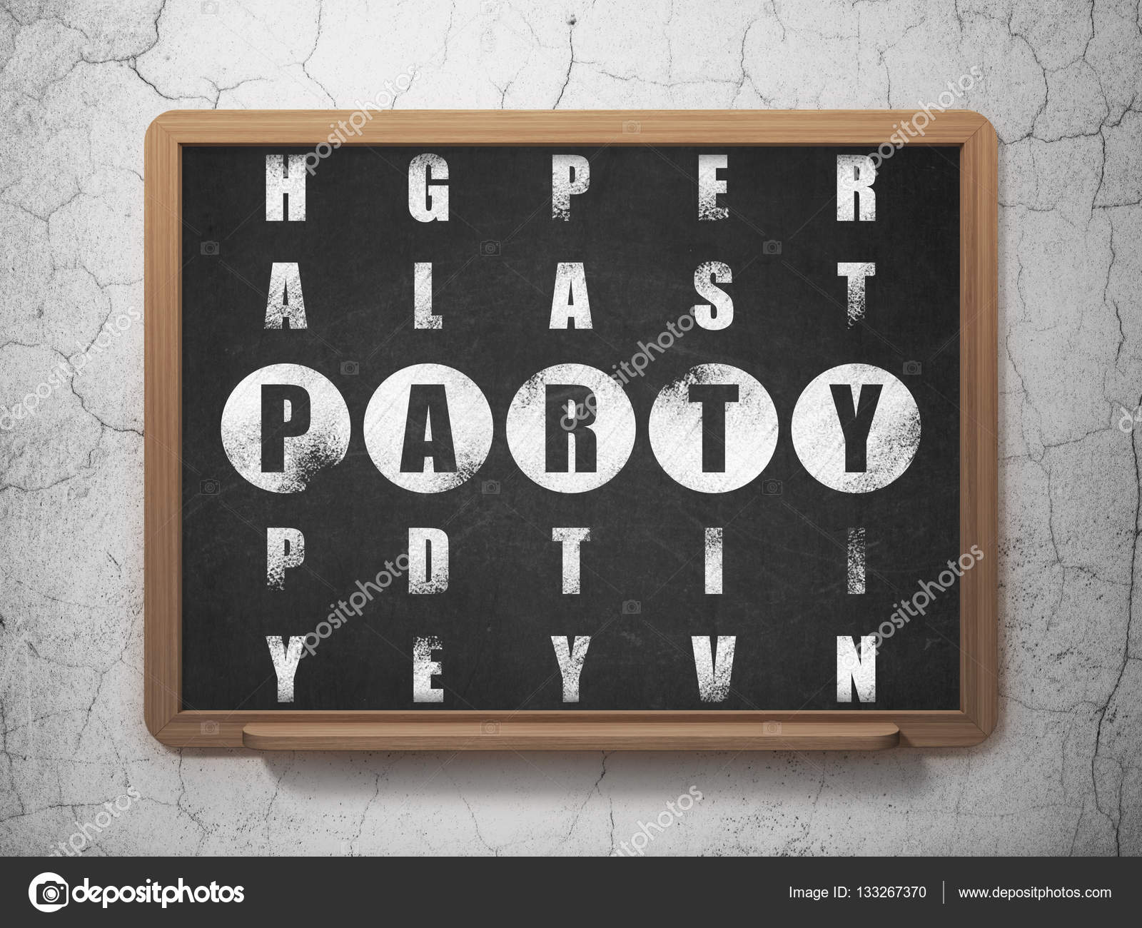 Entertainment concept party in crossword puzzle stock photo entertainment concept painted white word party in solving crossword puzzle on school board background 3d rendering photo by maxkabakov biocorpaavc