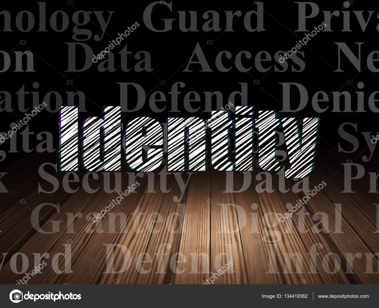 Holzfußboden Kreuzworträtsel ~ Datenschutz konzept: identität im grunge dunklen raum u2014 stockfoto