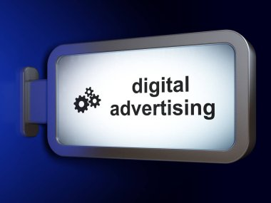Advertising concept: Digital Advertising and Gears on billboard background