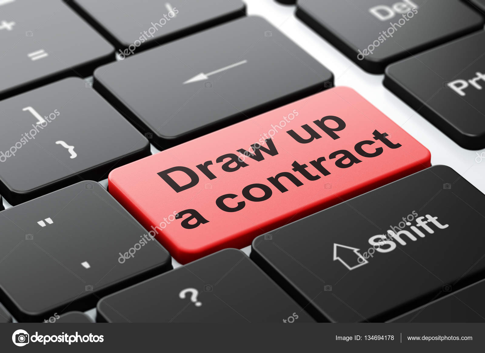 Law concept: Draw up A contract on computer keyboard