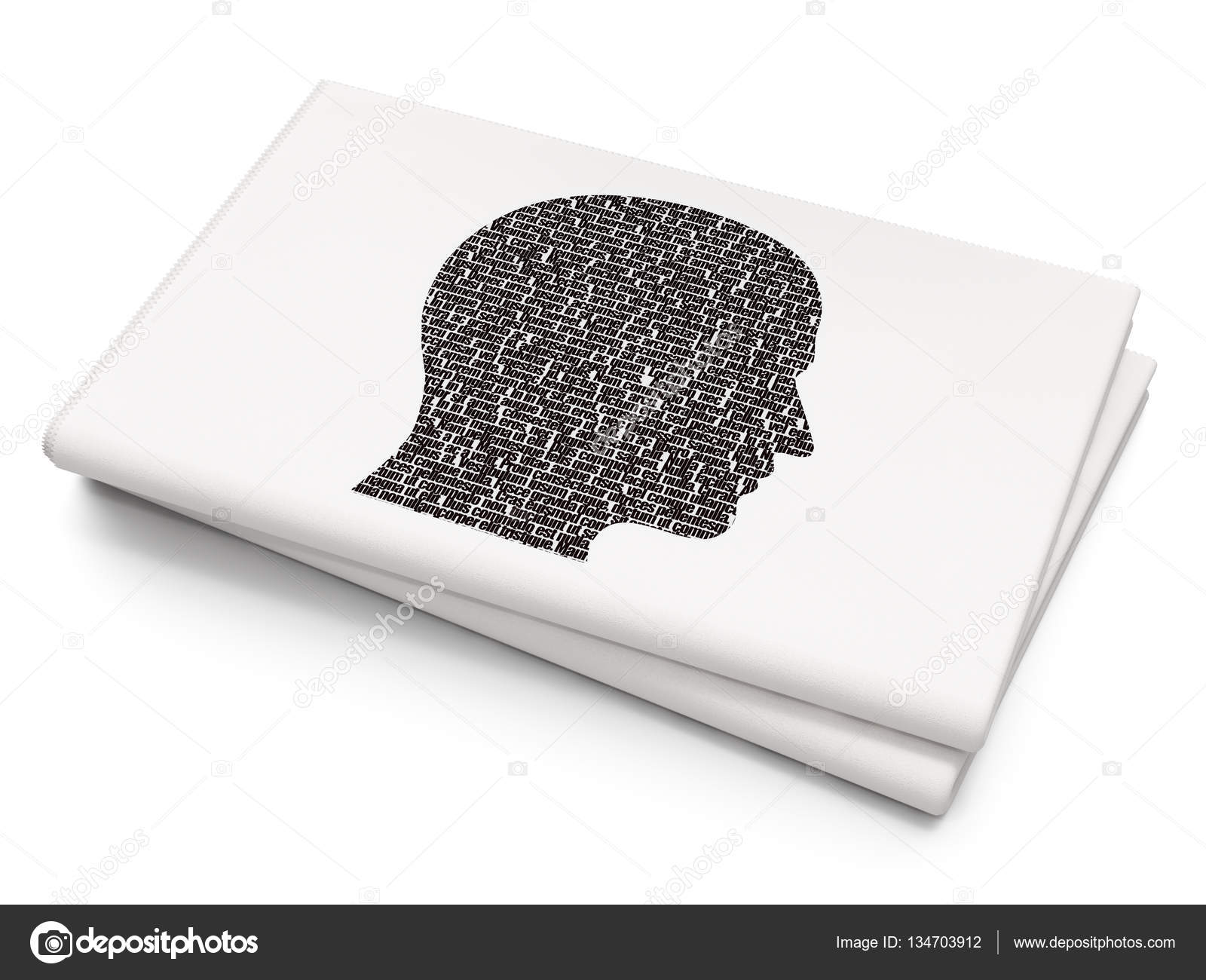 Finance Concept Head On Blank Newspaper Background Stock Photo