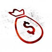 Fotografie Money concept: Money Bag on Digital background