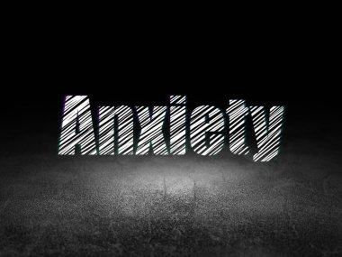 Medicine concept: Anxiety in grunge dark room