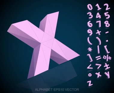 Set of Pink 3D polygonal Numbers And Mathematical Symbols with reflection. Low poly alphabet collection. EPS 10 vector illustration. clip art vector