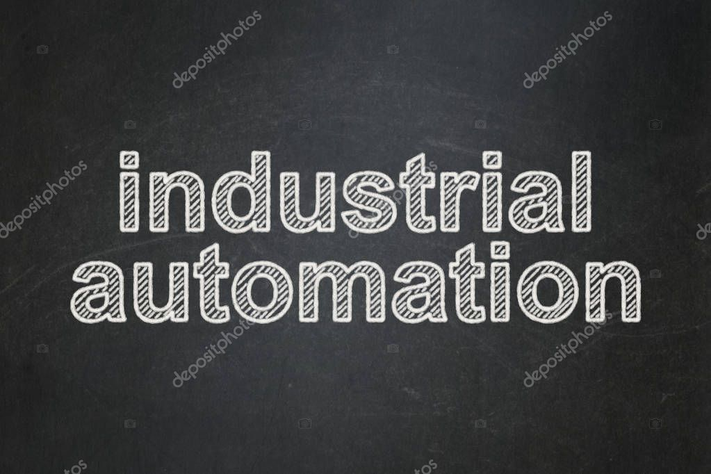 Manufacuring concept: Industrial Automation on chalkboard background