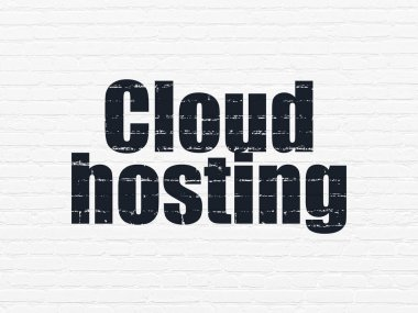 Cloud computing concept: Cloud Hosting on wall background