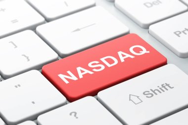 Stock market indexes concept: NASDAQ on computer keyboard background