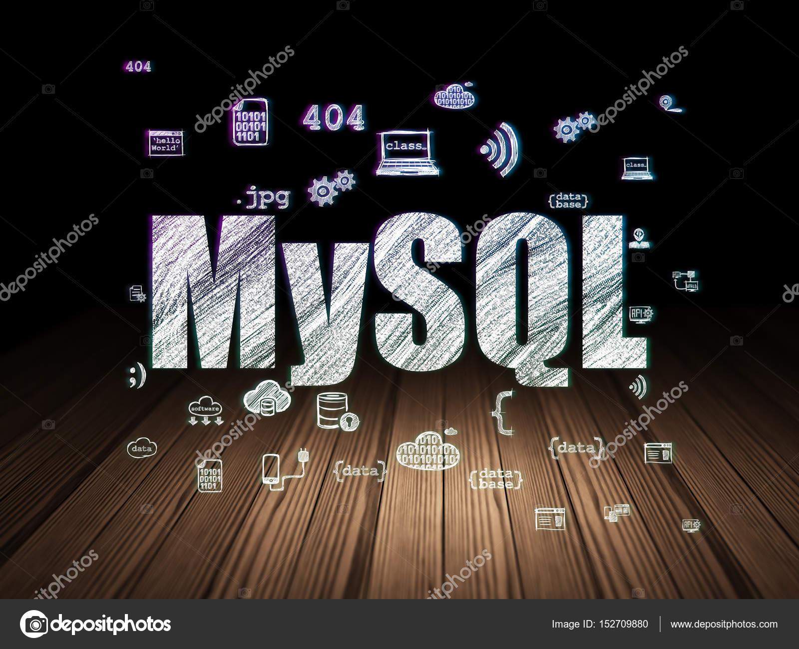 Holzfußboden Kreuzworträtsel ~ Programmierung konzept: mysql in grunge dunkelkammer u2014 stockfoto