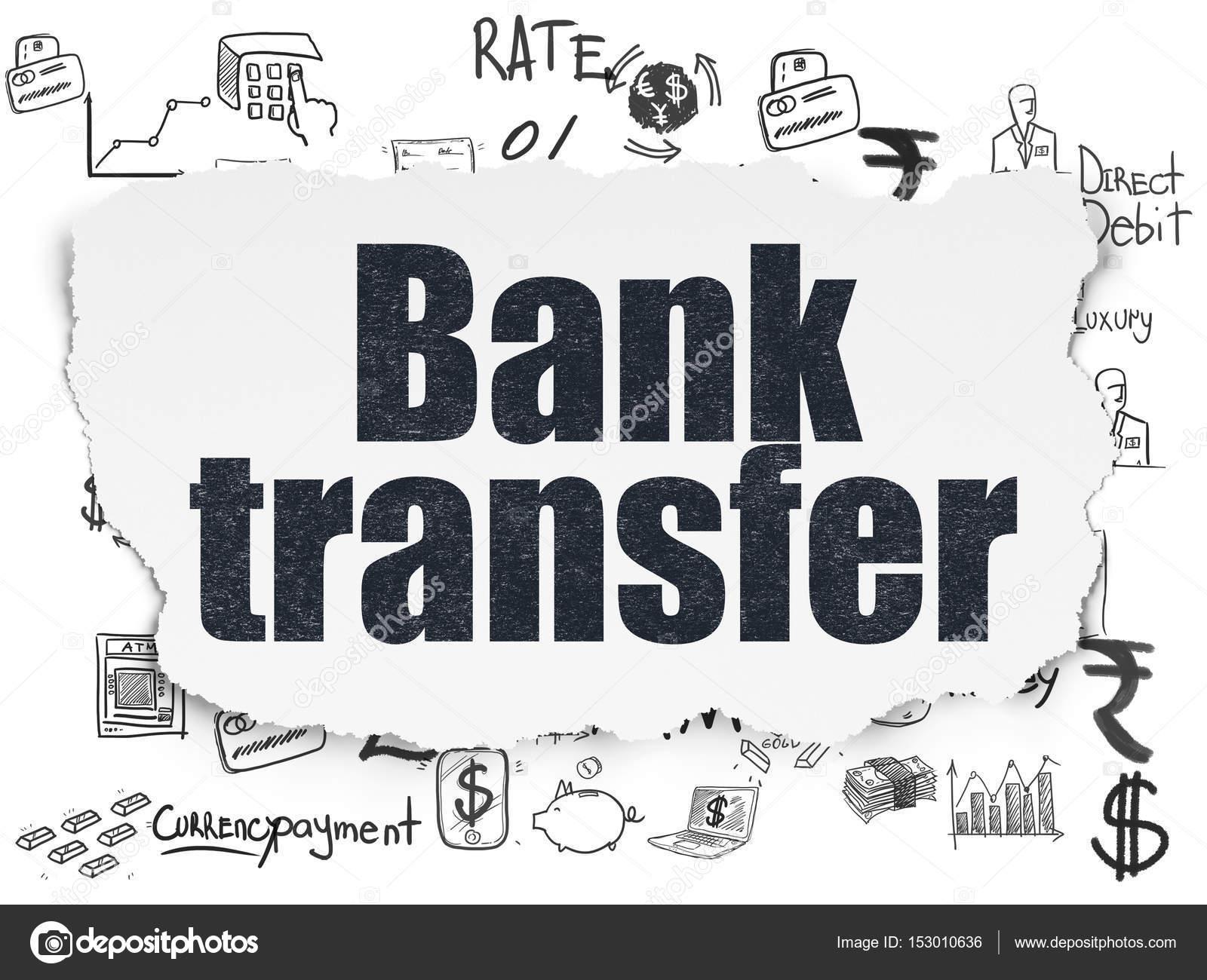 Geld-Konzept: Banküberweisung auf gerissenem Papier Hintergrund ...