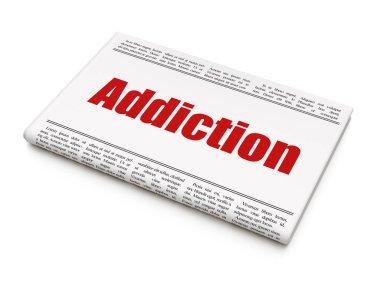 Health concept: newspaper headline Addiction
