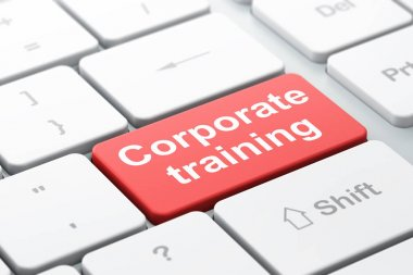 Learning concept: Corporate Training on computer keyboard background