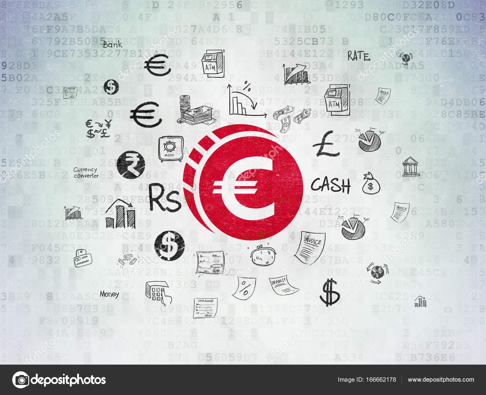 Konzept Geld Euro Münze Auf Digitale Daten Papierhintergrund